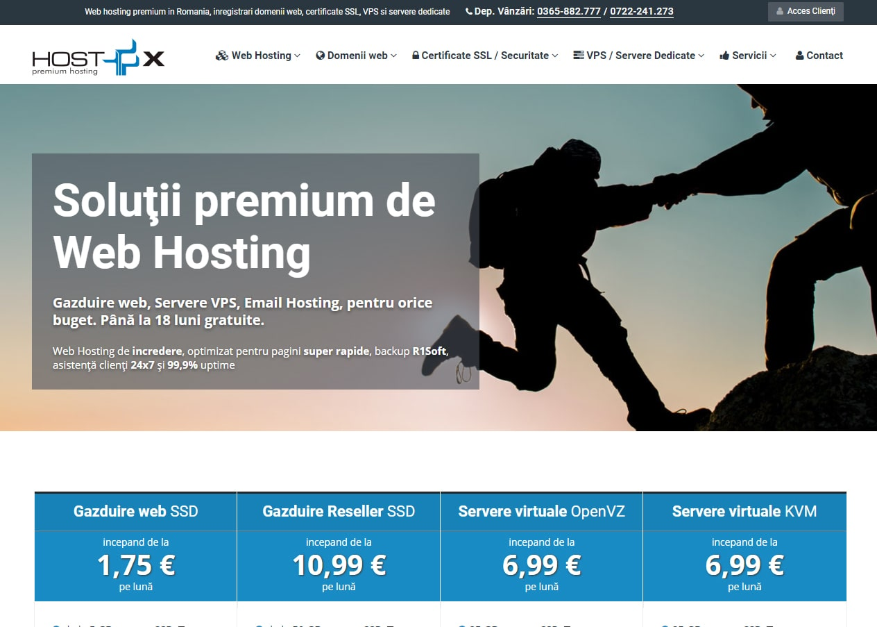 Screenshot site HostX